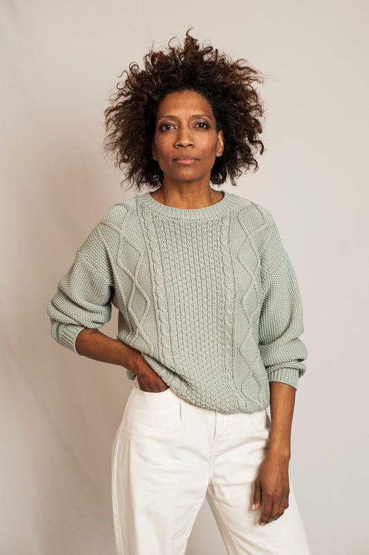 L'Envers - Paola Organic Cotton Sweater - GOTS certificated - Color Sage Green - Font Picture