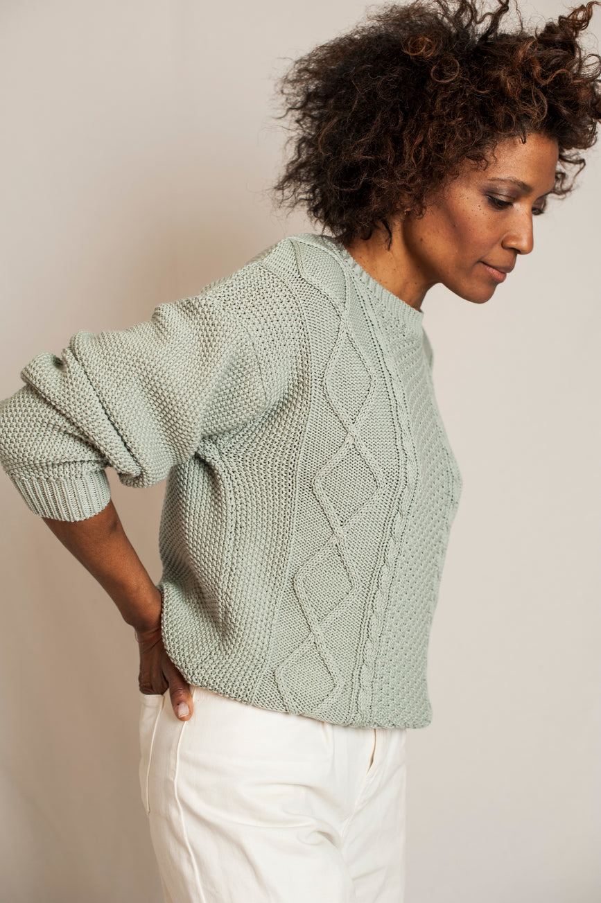 L'Envers - Paola Organic Cotton Sweater - GOTS certificated - Color Sage Green - Preview Picture