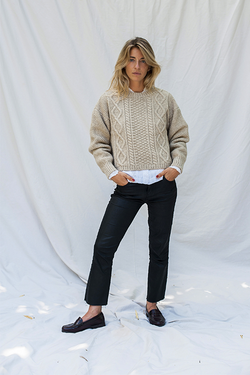 Paola Irish Beige Merino Wool Sweater - L'Envers