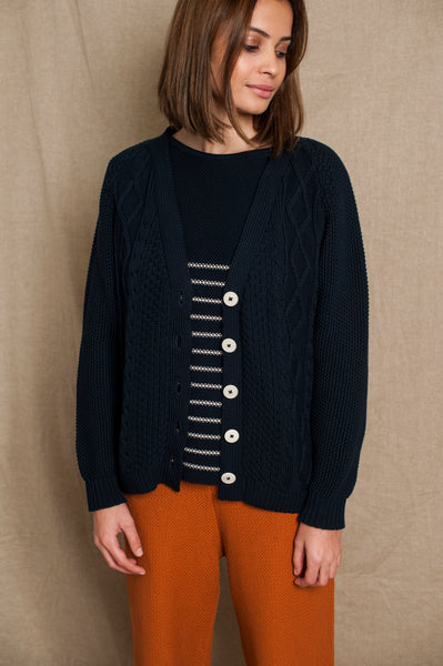 L'Envers - Annie Organic Cotton Cardigan - GOTS certificated - Color Navy Blue