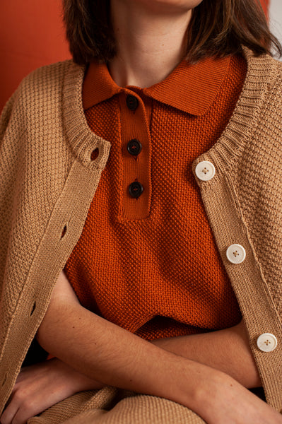 L'Envers - Édith Organic Cotton Polo - GOTS certificated - Color Ocre