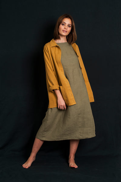L'Envers - Flora Linen Dress - 100% French linen - Color Kaki
