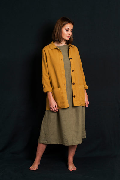 L'Envers - Niki Hemp Worker Jacket - Upcycled Hemp - Color Mustard