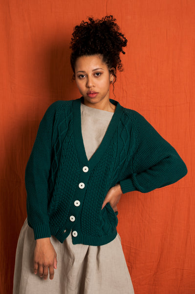 L'Envers - Annie Organic Cotton Cardigan - GOTS certificated - Color Forest Green