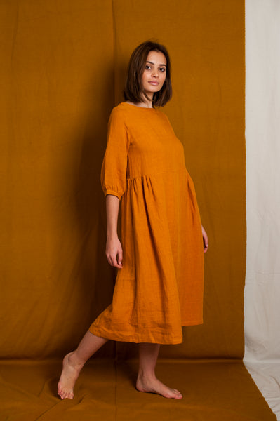 L'Envers - Flora Linen Dress - 100% French linen - Color Ocre