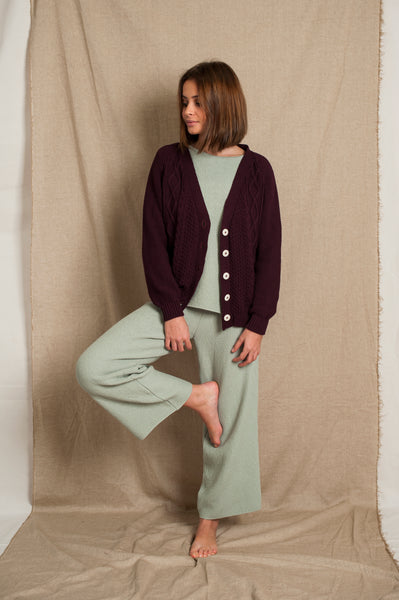 L'Envers - Annie Organic Cotton Cardigan - GOTS certificated - Color Plum