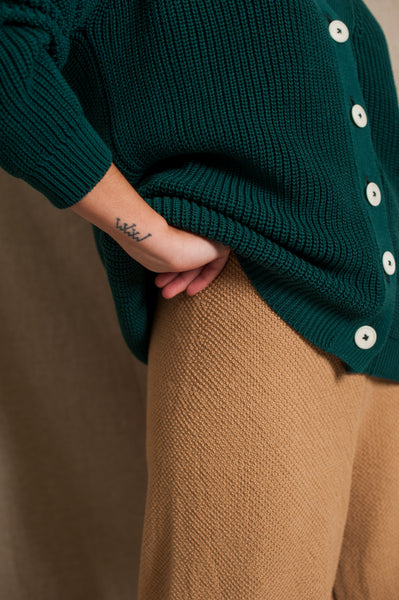 L'Envers - Claude Organic Cotton Cardigan - GOTS certificated - Color Forest Green