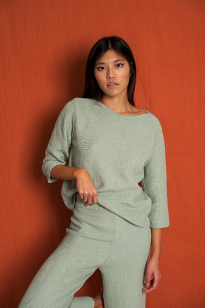L'Envers - Marguerite Organic Cotton Top - GOTS certificated - Color Sage Green