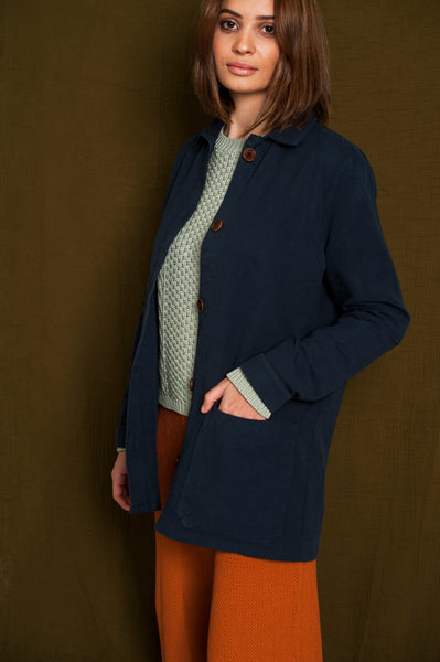 L'Envers - Niki Hemp Worker Jacket - Upcycled Hemp - Color Navy