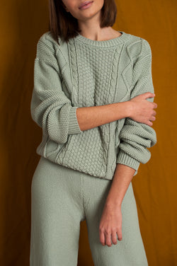 L'Envers - Paola Organic Cotton Sweater - GOTS certificated - Color Sage Green