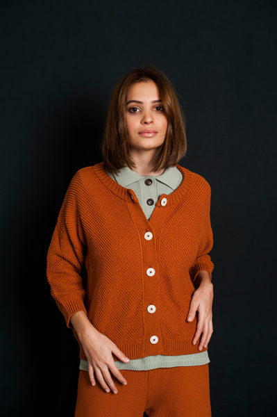L'Envers - Séraphine Organic Cotton Cardigan - GOTS certificated - Color Ochre