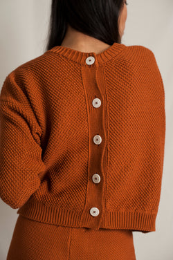 L'Envers - Séraphine Organic Cotton Cardigan - GOTS certificated - Color Ochre - Back Picture