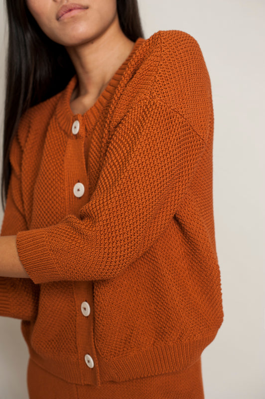 L'Envers - Séraphine Organic Cotton Cardigan - GOTS certificated - Color Ochre - Zoom Picture
