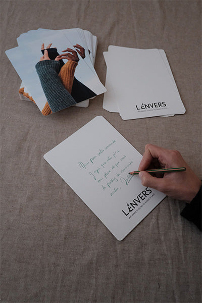L'Envers - Made to Order Pieces in Organic Cotton and Natural Wool - Card with every packaging