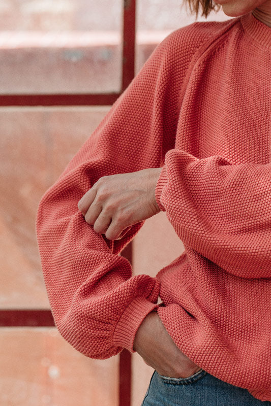 L'Envers x Taller Silvestre collaboration - Botanical Dyes - GABY Cardigan in pink 100% organic cotton, GOTS certificated