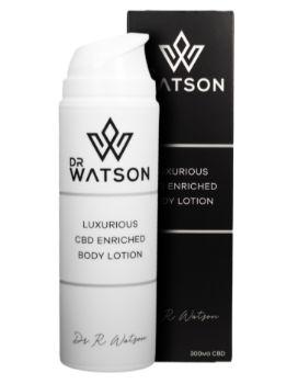 Buy Dr Watson CBD Body Lotion online. With 300mg of CBD in a 150ml bottle. Luxurious, affordable, Vegan & Made in Switzerland
