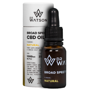 Dr Watson Broad Spectrum CBD Hemp Oil Drops for Sublingual Use in 1000mg / 7% strength. Clear golden colour with natural subtle hemp flavour. Buy Cannabis Oil Online with Dr Watson