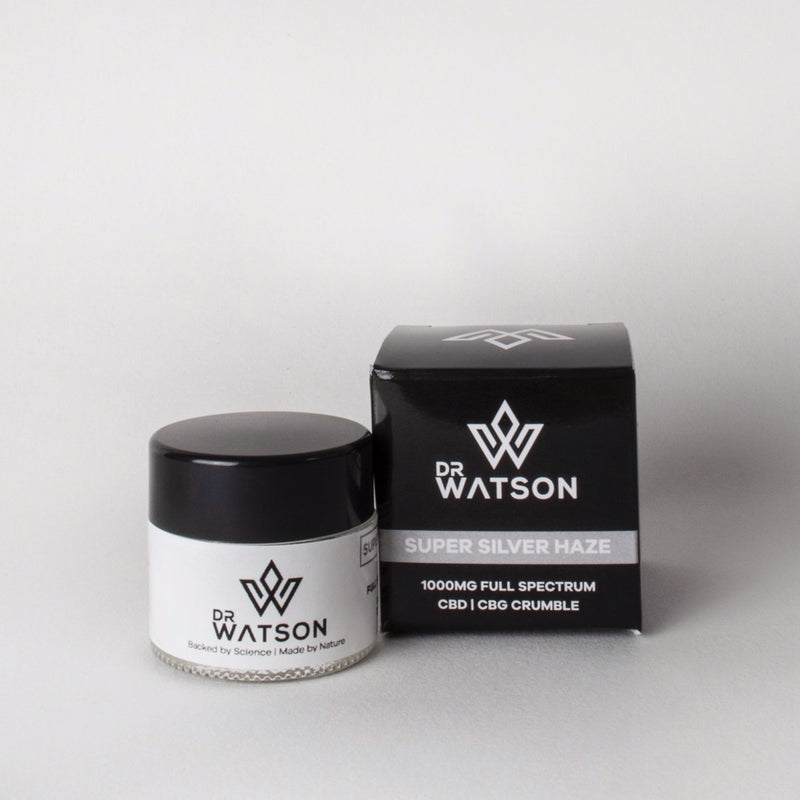 Dr Watson CBD Crumble Jar containing 1 gram of CBD x CBG Hemp Extract with Super Silver Haze Terpenes. Great for dabbing, cooking, making your own vape liquids and oils & more. Shop CBD crumble resin online with Dr Waton