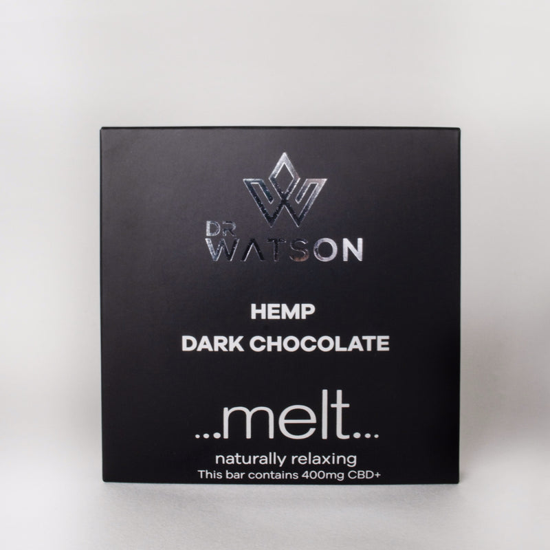 Dr Watson & Melt chocolate Vegan friendly hemp dark chocolate with 400 mg of CBD