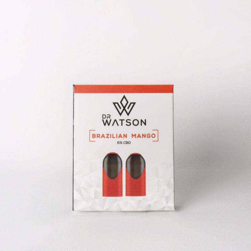 Dr Watson Cbd Vape Pods for Pod System. Brazilian Mango flavour with 6 % CBD. Great for relaxation and supporting wellbeing