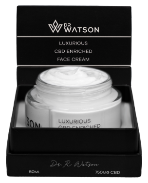 Dr Watson Luxurious CBD Enriched Face Cream.  Contains 750 mg of CBD in 50ml container.  Perfect for Daily Moisturizing of the face