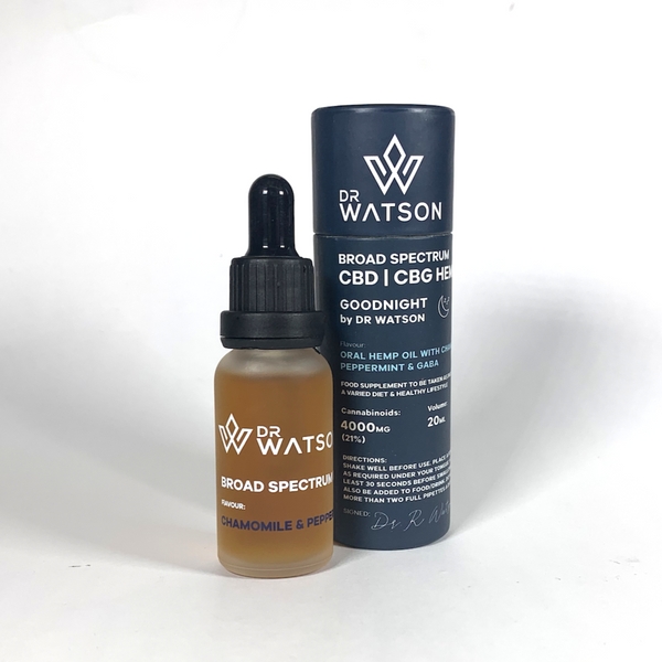 Goodnight 4000mg CBD & CBG oil by Dr Watson with chamomile, peppermint & GABA