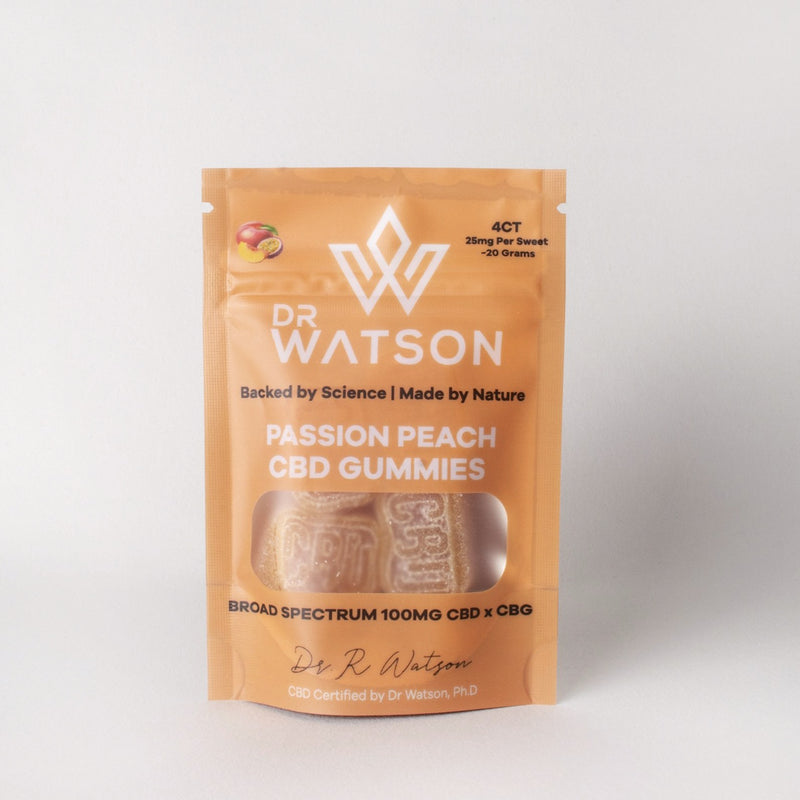 Passion Peach CBD CBG Broad Spectrum Gummies by Dr Watson 4 piece