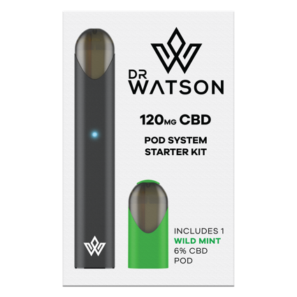 Dr Watson CBD Vape Pen Body System Starter Kit. Comes with One Mint Flavoured Pod, device, & Charging Cable. 6% CBD