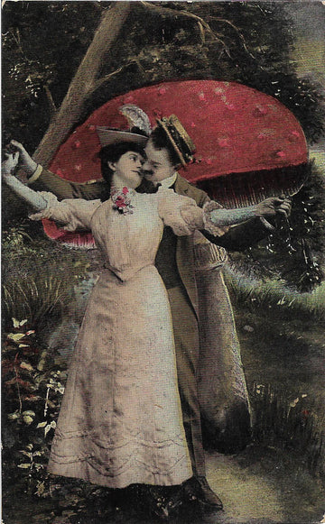 Mushroom Lovers I - Antique Surreal Postcard