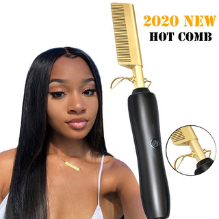 Electric Hot Hair Comb Straightener for Natural Hair - UG