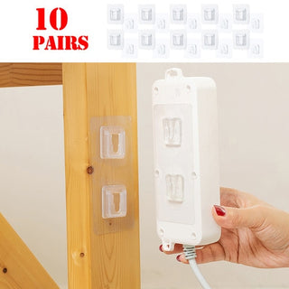 10 Pairs Double-Sided Adhesive Wall Hook Hanger - UG
