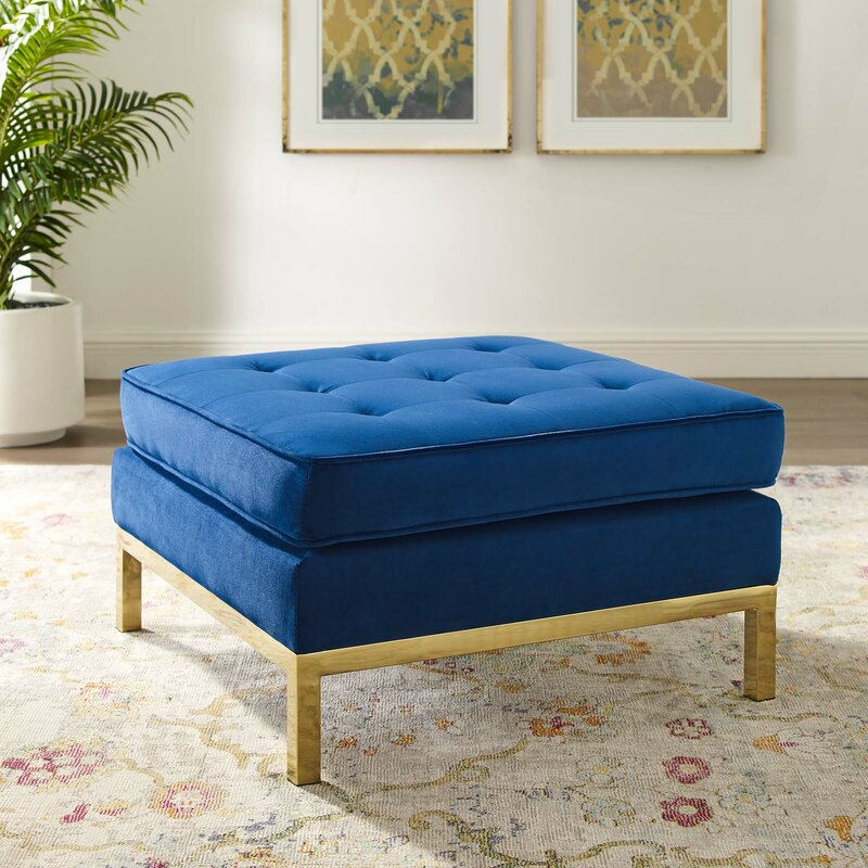 Aranka Square Ottoman / Gold Steel Base