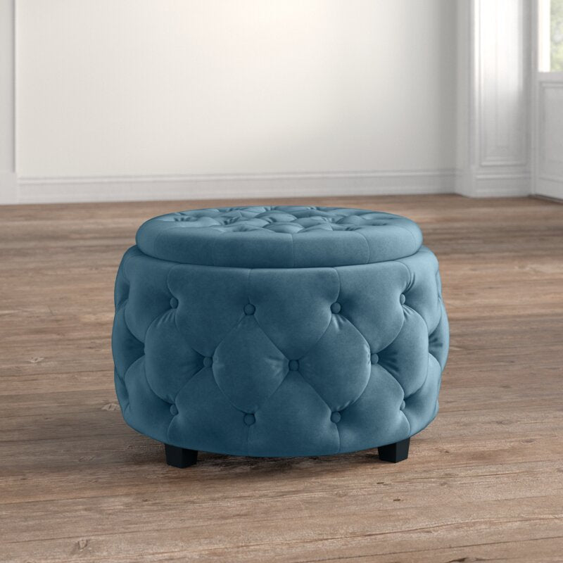 Barrel Velvet Ottoman With Storage