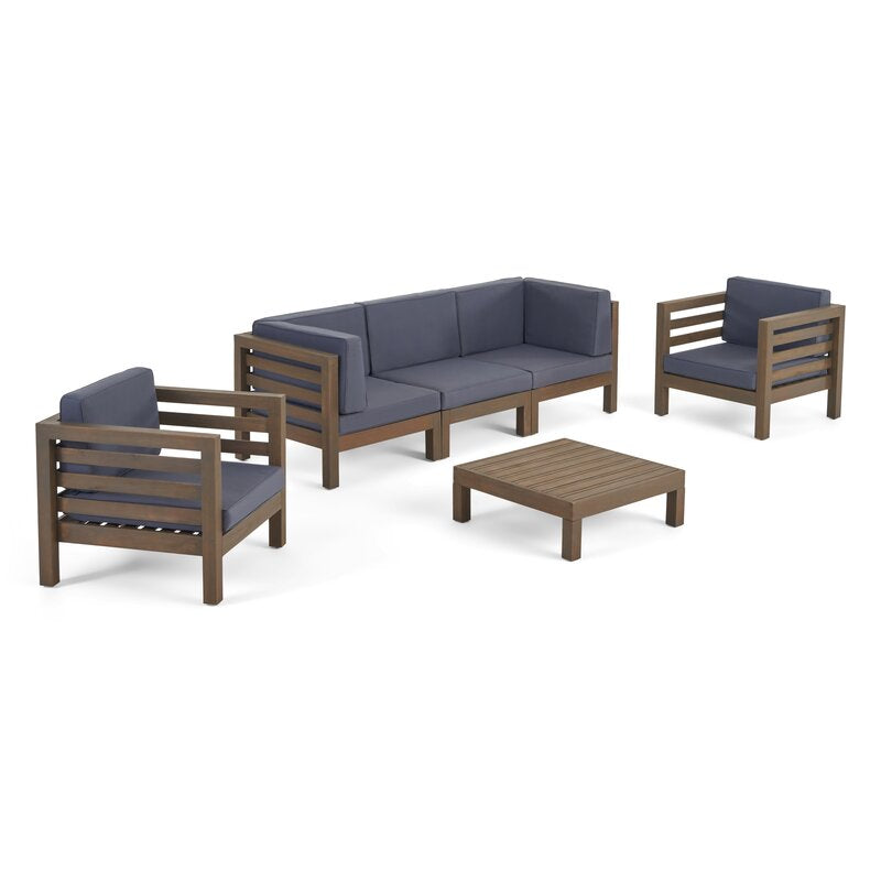 Brown Teak / Dark Blue Seating