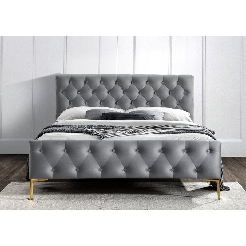 Genesis Tufted Low Profile Bed / Velvet Upholstery