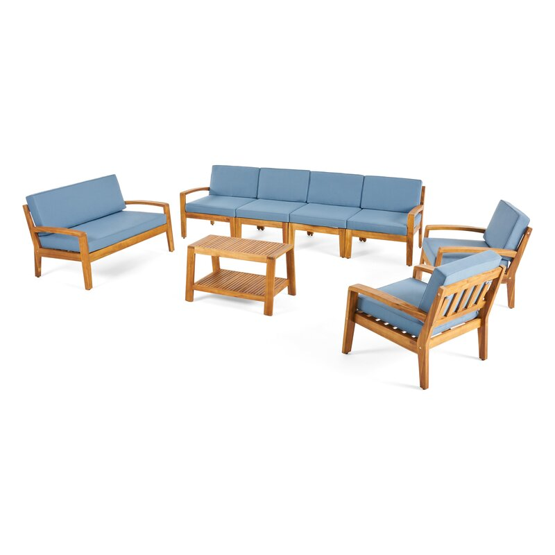 Natural Teak / Light Blue Seating