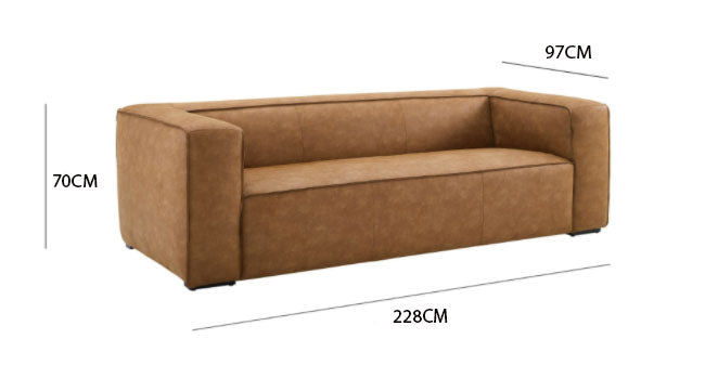 Nairobi 3S. Sofa / 228 x 70 CM Leather Upholstery