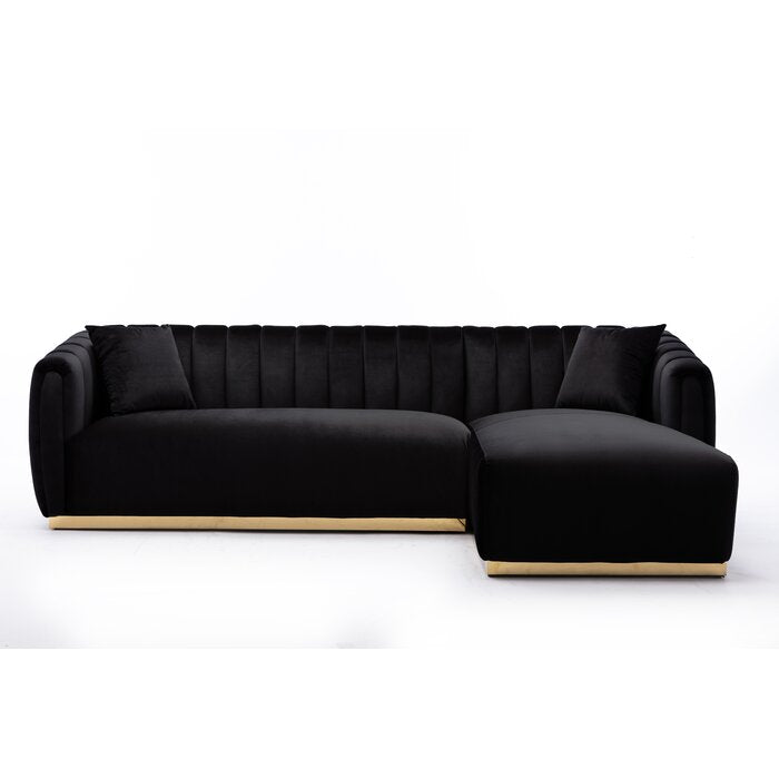 Alanya L-Shaped Sofa / 302 x 181 CM Black Velvet Upholstery