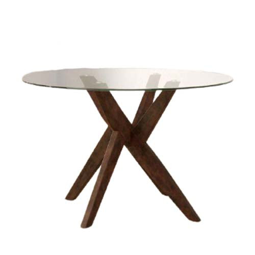 Amelia Dining Table / Round Tempered Glass.