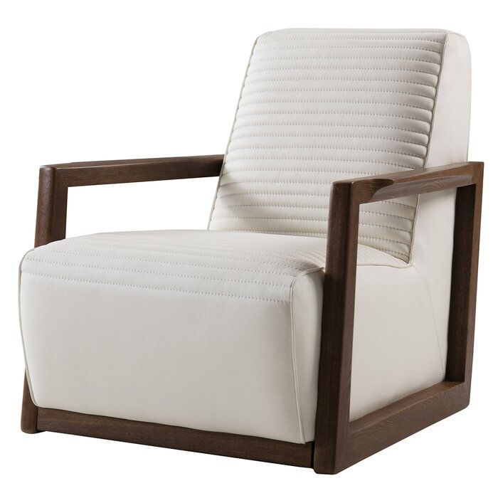 Palma Beech Arm Chair / 84 x 84 CM Leather Upholstery
