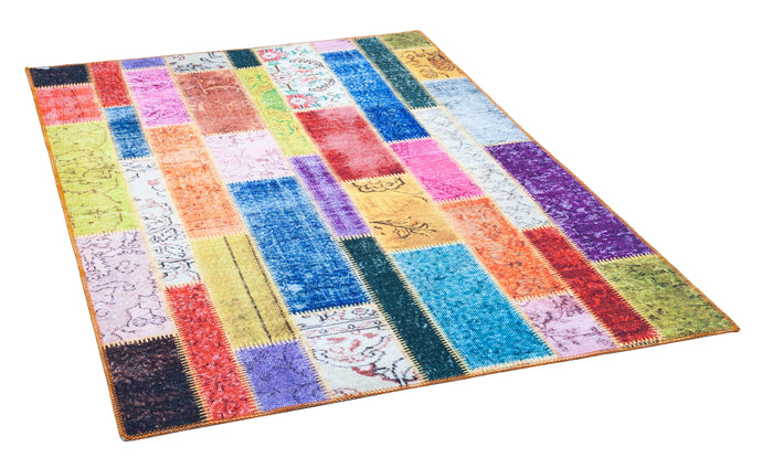 [Non Shedding Lightweight and Durable Rugs] printed ethic modern traditional colourful energetic cosy green red yellow orange carpet superthin thin carpet patchwork look living room bedroom kids room kitchen