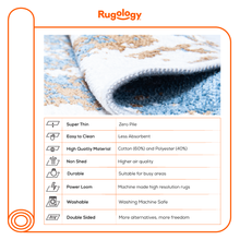 Load image into Gallery viewer, Beige Blue Reversible Washable Lightweight Cotton Based Area Rug - NK02