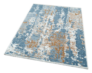 Beige Blue Reversible Washable Lightweight Cotton Based Area Rug - NK02