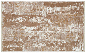 Beige Brown Reversible Washable Lightweight Cotton Based Area Area Rug - NK02