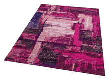 Load image into Gallery viewer, [Non Shedding Lightweight and Durable Rugs]-lilac pink red vibrant energetic abstract contemporary modern patterns unique designer superthin thin rug and carpet living room bedroom kids room kitchen entrance light pink dust free zero pile