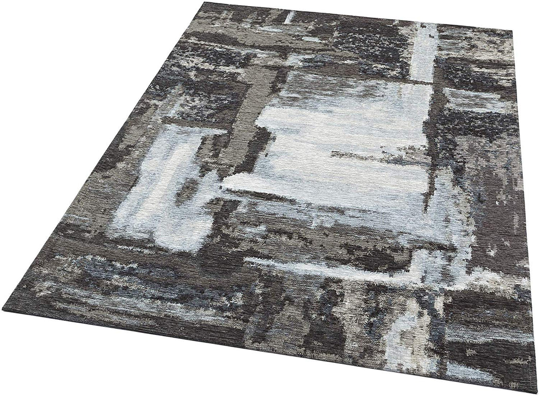 [Non Shedding Lightweight and Durable Rugs]- abstract contemporary black white silver grey colours minimal modern cosy trendy unique designer rug and carpet rectangular area living room bedroom kitchen indoor homely feeling