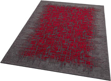 Load image into Gallery viewer, [Non Shedding Lightweight and Durable Rugs]-grey black charcoal red frame lines unique modern and contemporary fractal pattern indoor living room bedroom kitchen kids room entrance easy to clean vibrant profound eye catching area rug and carpet