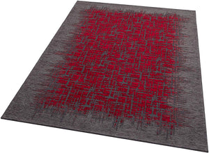 [Non Shedding Lightweight and Durable Rugs]-grey black charcoal red frame lines unique modern and contemporary fractal pattern indoor living room bedroom kitchen kids room entrance easy to clean vibrant profound eye catching area rug and carpet