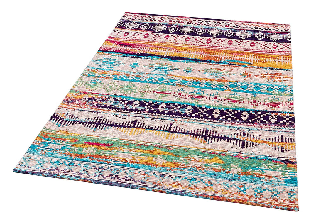 [Non Shedding Lightweight and Durable Rugs]- Bohemian vintage ethnic contemporary modern blue beige soft colours colourful peaceful calming yoga cosy minimal oriental patterns indoor living room bedroom kitchen kids room entrance area rug and carpet thin easy to carry