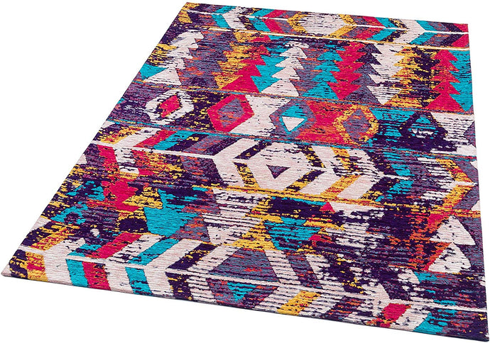 [Non Shedding Lightweight and Durable Rugs]-Rugology colourful multicolour red black blue white scandinavian moroccan unique geometric design with lines and triangles asymmetry living room bedroom kitchen area rug kids room thin super thin